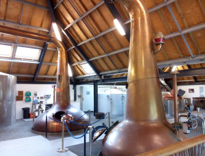 Still house at the Arran Distillery