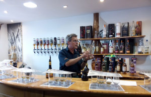 Tasting Room at Arran Distillery and our tour guide Richard