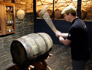 "Removing the bung of the Auchentoshan ""bottle your own"" barrel"