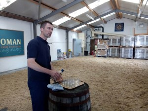 Tony pouring the introductory 100% Islay dram right on the malt floor