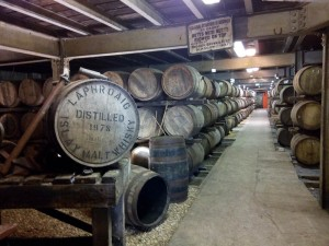 Warehouse at Laphroaig with a Royal cask at the front