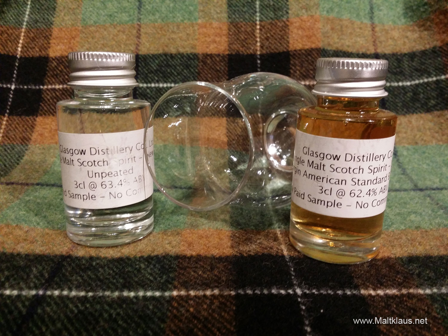 Glasgow Distillery new make + 8-month-old spirit