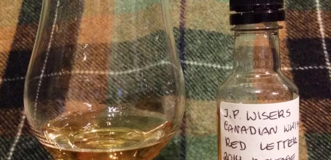 J.P. Wiser's Red Letter 10 yo 2014 release Canadian Whisky