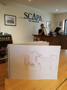 The Lomond still at Scapa distillery, sketched by Jo Lawson