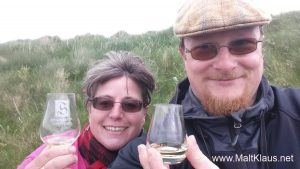 Enjoying a wee dram at Skara Brae