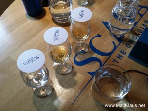 A wee tasting after the tour at Scapa distillery
