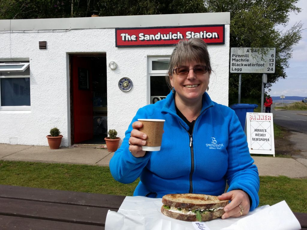 Quick lunch at the Sandwich Station in Lochranza after arriving on Arran