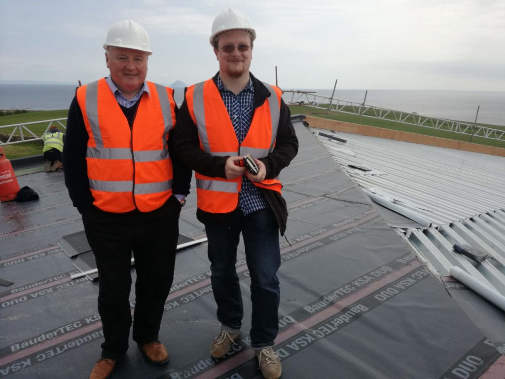 James MacTaggart and yours truly on the roof of the Lagg distillery